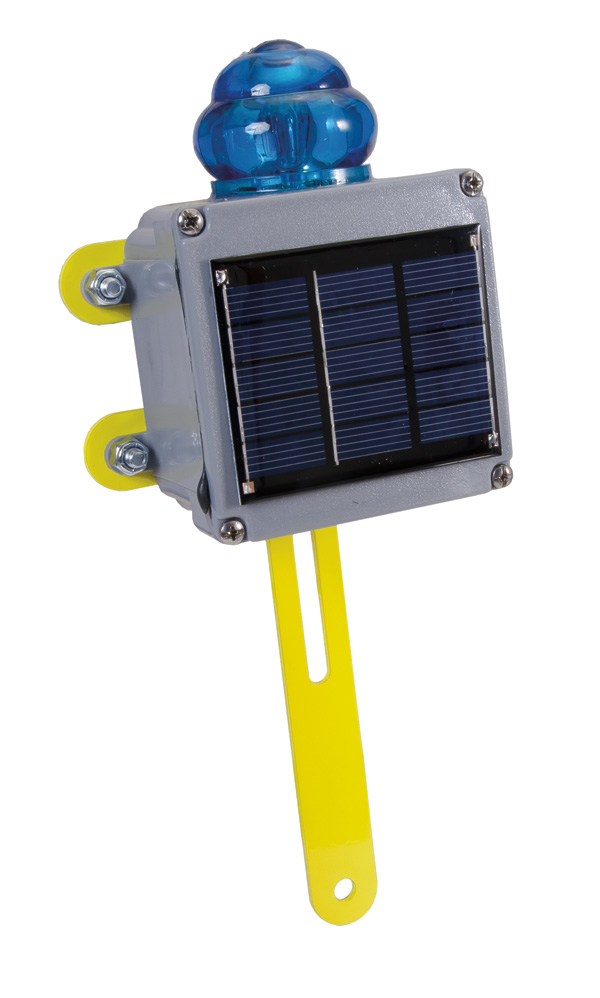 Aldon railroad solar powered blue flashing light