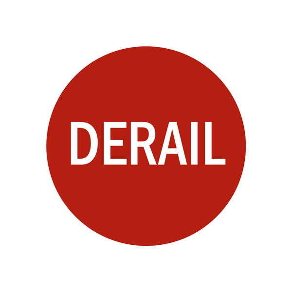 Replacement Derail Sign in Red