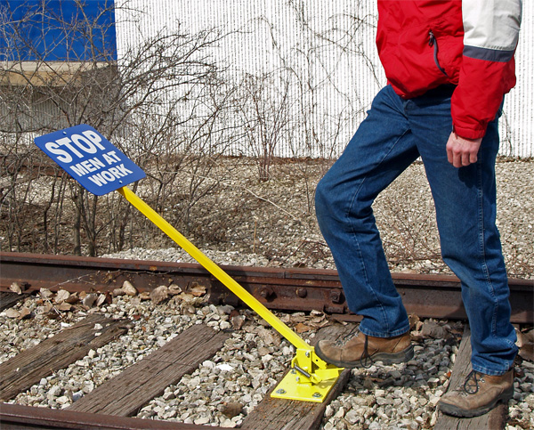 Aldon foot operated railroad blue flag sign