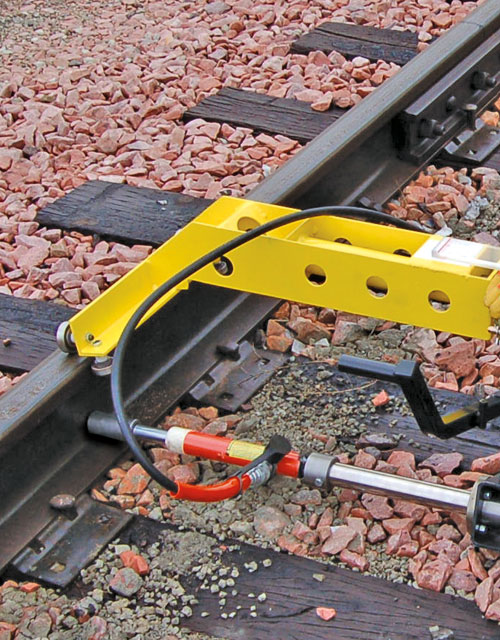 Aldon rolling railroad gauge restraint loading track fixture and gauge all-in-one