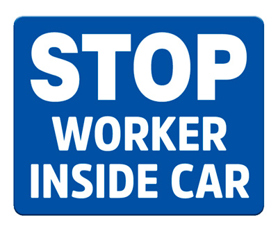 Stop - Worker Inside Car (Blue)