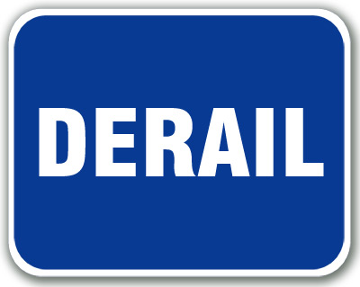 Aldon blue railroad OSHA sign flag, derail