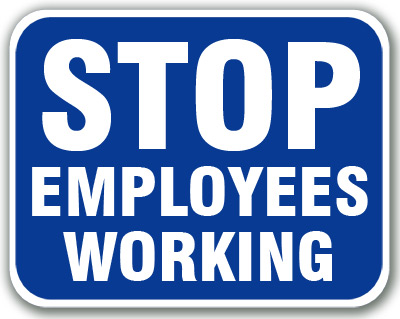 Stop - Employees Working (Blue) - 6SEW-B