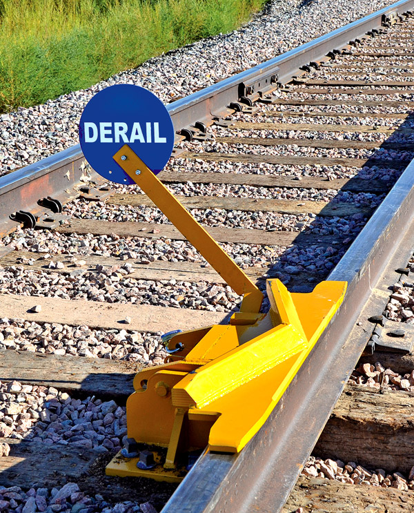 2-Way Hinged Railroad Derail (for Locomotive) with manual sign holder