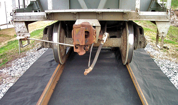Aldon railroad absorbent track mat spill containment sheet