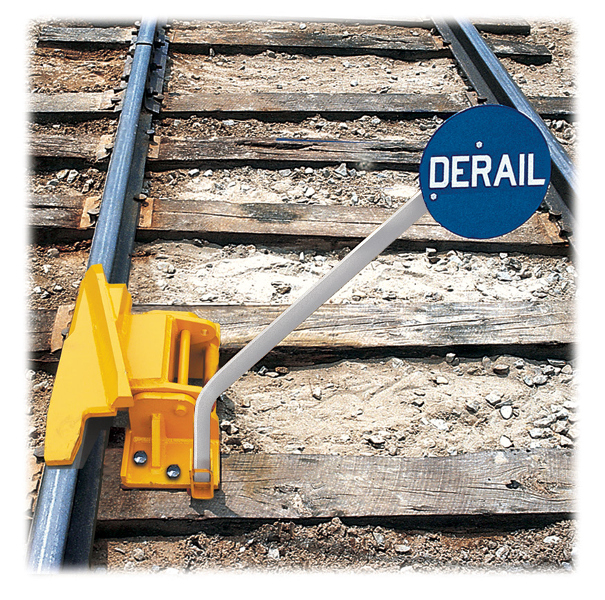 1-Way Hinged Railroad Derail (Left Throw) with Manual Lift Sign Holder railroad derails, derails, hinged derails,