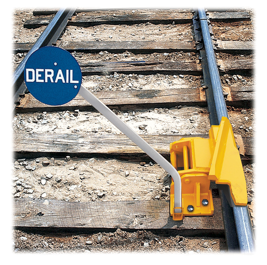 1-Way Hinged Railroad Derail (Right Throw) with Manual Lift Sign Holder