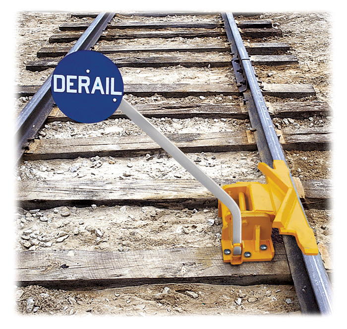 2-Way Hinged Railroad Derail (for Freight Cars) with manual sign holder