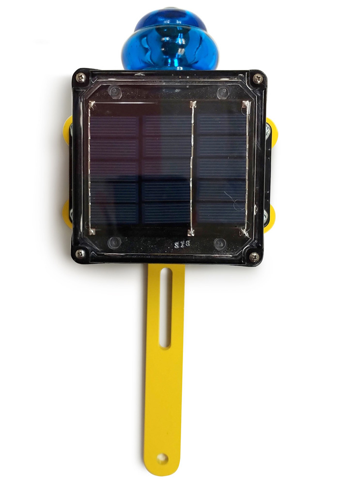 Blue Flashing Solar Light w/Bracket