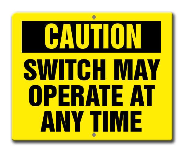 Aldon railroad reflective caution switch may operate at any time sign