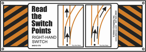 Aldon railroad switch point turnout training sign