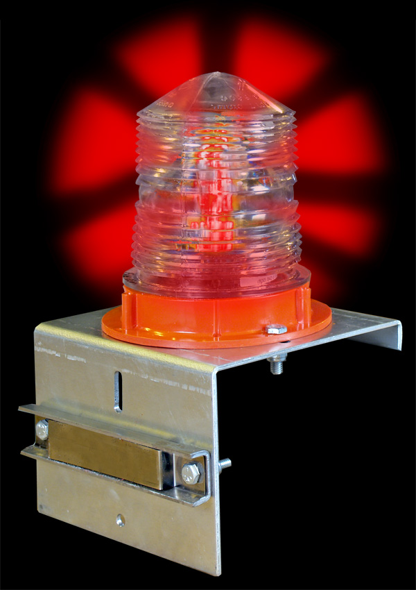 Aldon railroad flashing red SOLAR light with magnet bracket