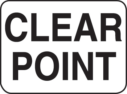 Aldon railroad clear point sign