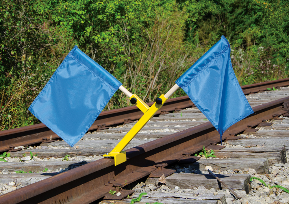 Aldon railroad magnetic nylon blue flag holder clamps to train rail head