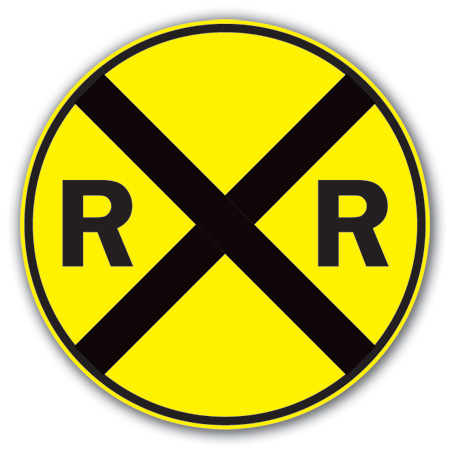 Aldon railroad crossing advanced warning sign plate