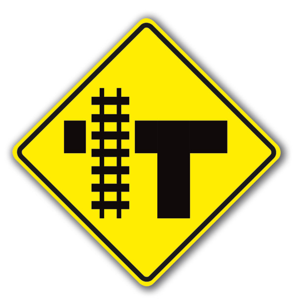 Aldon railroad crossing traffic intersection #3 sign