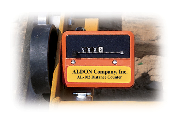 Aldon rolling distance counter for railroad track gauges