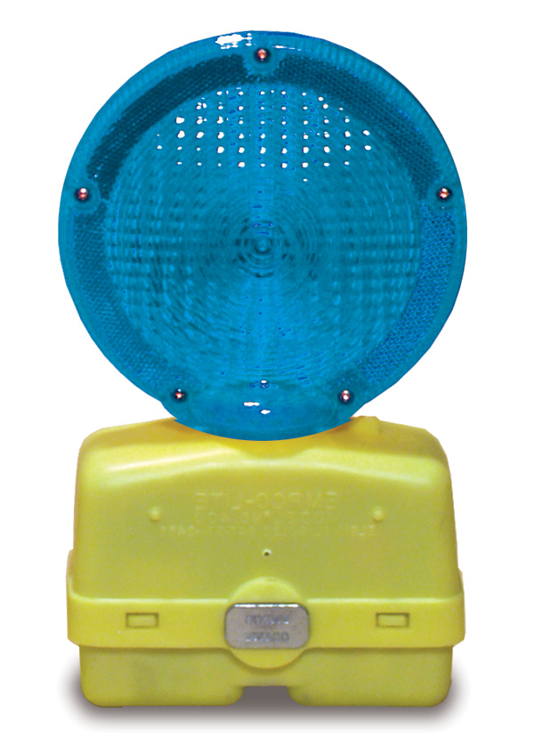 Aldon railroad flashing sign and wheel chock blue light