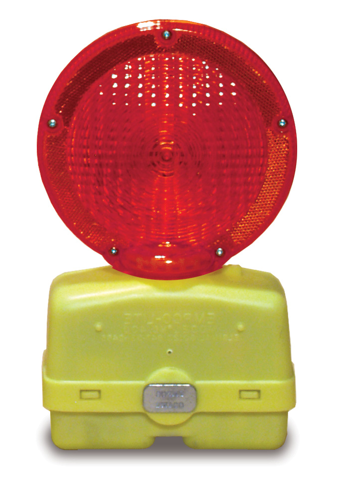 Aldon railroad flashing sign and wheel chock red light