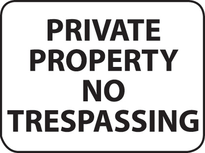 Aldon reflective private property no trespassing sign