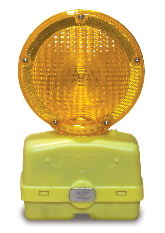 Aldon railroad flashing sign and wheel chock amber yellow light