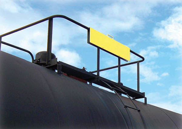 Aldon tankcar safety gate for tank car manway railings