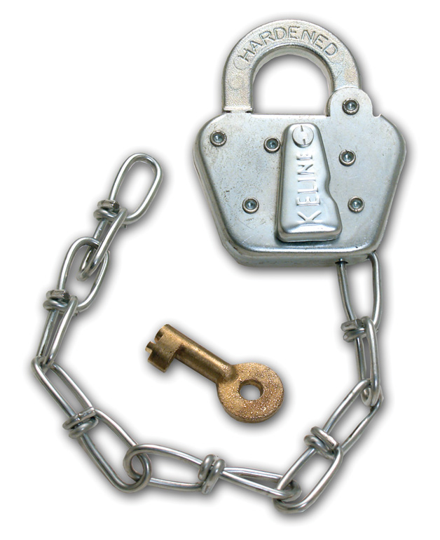 Aldon railroad switch stand padlock with chain. Keline style