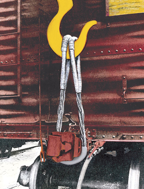 Aldon railroad coupler lifting sling for lifting railcars