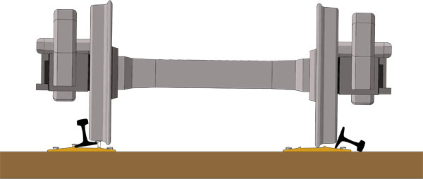 Diagram of the result of wheel side pressure on spongy ties.