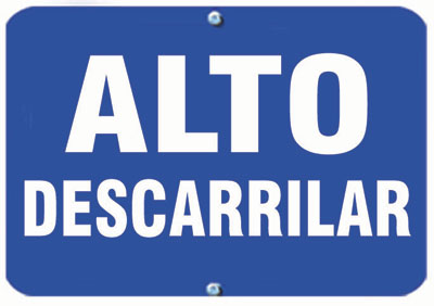 Aldon railroad OSHA blue sign flag, alto descarrilar