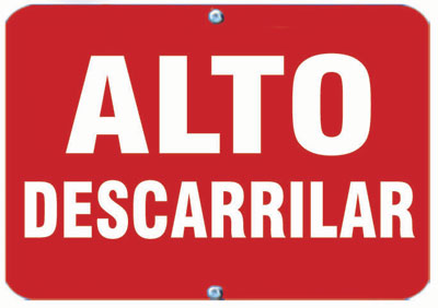 Aldon railroad OSHA red sign flag, alto descarrilar