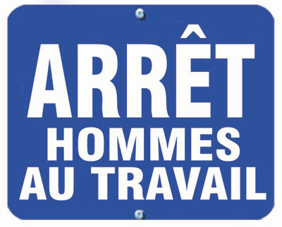 Aldon railroad OSHA blue sign flag, arret hommes au travail