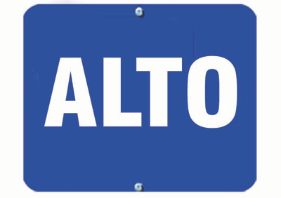 Aldon railroad OSHA blue sign flag, alto