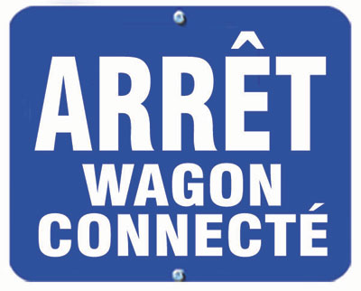 Aldon railroad OSHA blue sign flag, arret wagon connecte