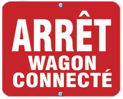 Aldon railroad OSHA red sign flag, arret wagon connecte