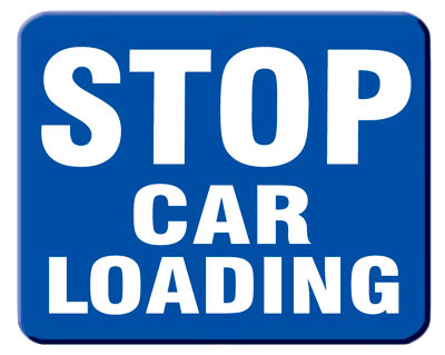 Aldon blue railroad sign flag, stop car loading