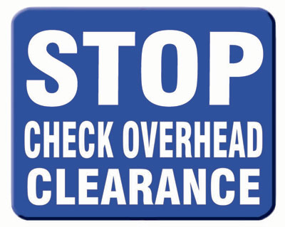 Aldon blue railroad sign flag, stop check overhead clearance