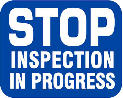 Aldon blue railroad stop inspection in progress sign flag for railcar inspectors