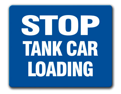 Aldon blue railroad sign flag, stop tank car loading