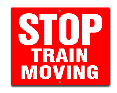 Aldon railroad OSHA red sign plate stop train moving